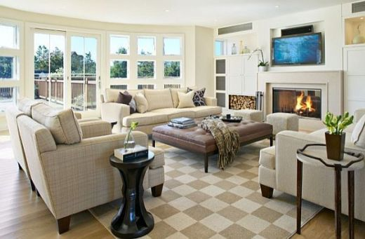 checkered-rug-in-modern-living-room