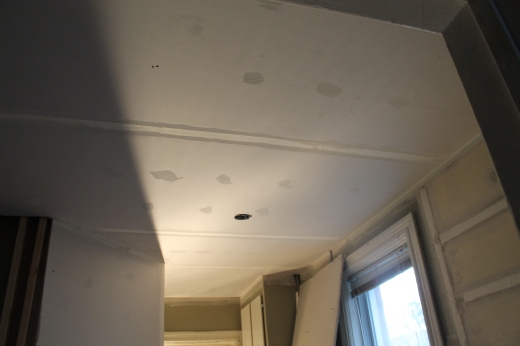 A look at my new kitchen ceiling, with the box for the track lighting